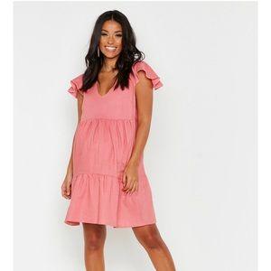 Maternity frill sleeve dress